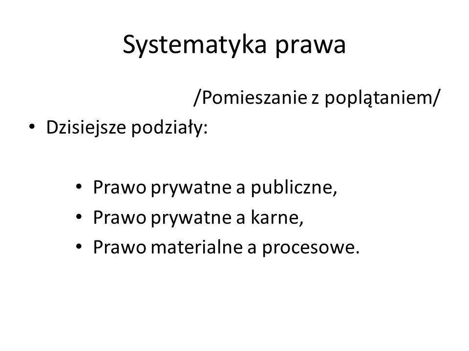 Systematyka prawa /Pomieszanie z poplątaniem/ Dzisiejsze podziały: