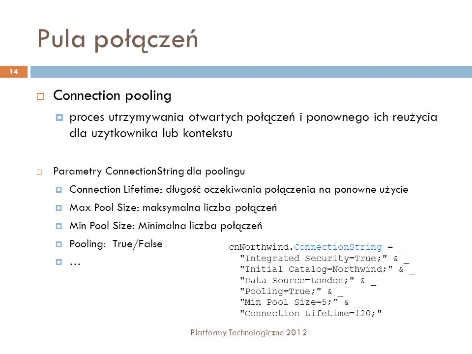 Pula połączeń Connection pooling