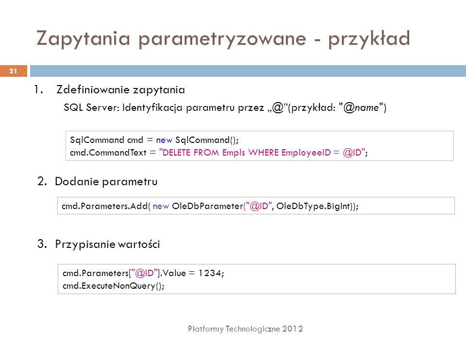 Zapytania parametryzowane - przykład