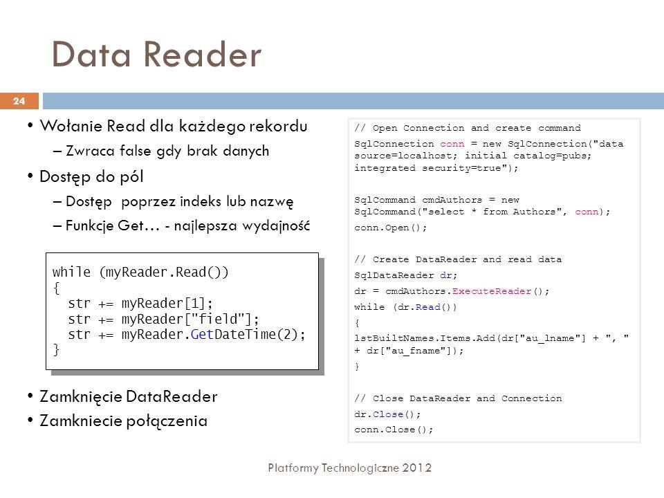 Data Reader Wołanie Read dla każdego rekordu Dostęp do pól