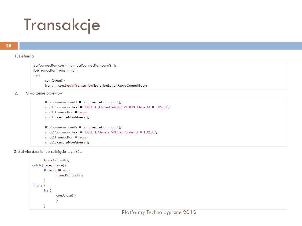 Transakcje Platformy Technologiczne 2012 1. Definicja