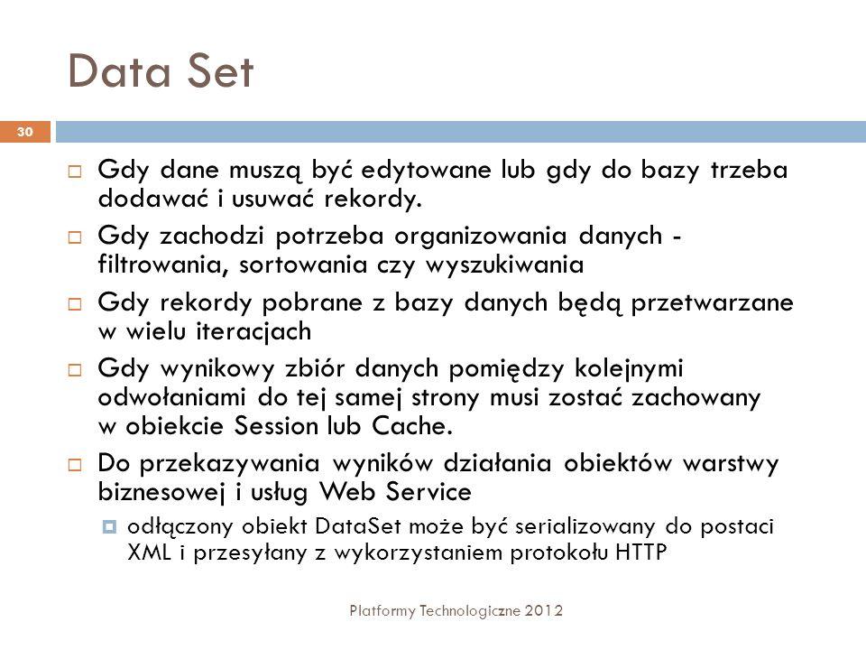 Data Set Gdy dane muszą być edytowane lub gdy do bazy trzeba dodawać i usuwać rekordy.