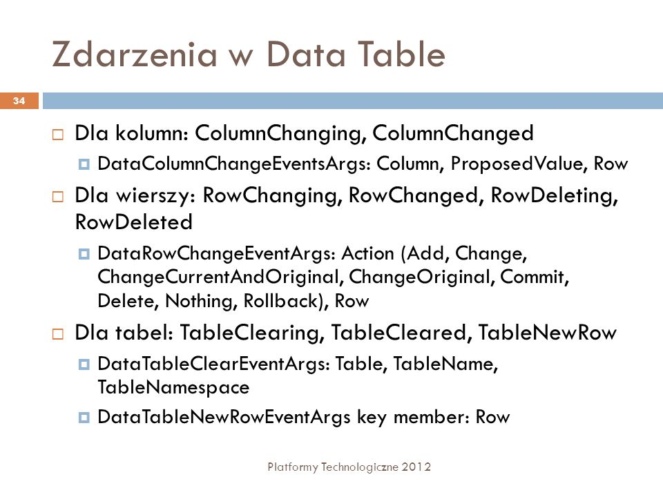 Zdarzenia w Data Table Dla kolumn: ColumnChanging, ColumnChanged