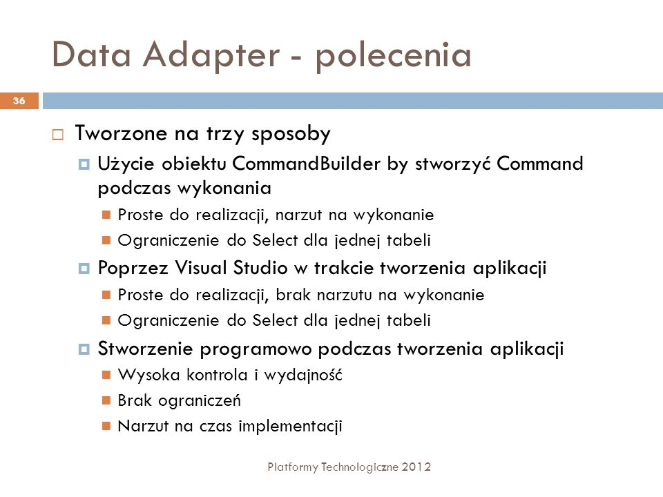 Data Adapter - polecenia