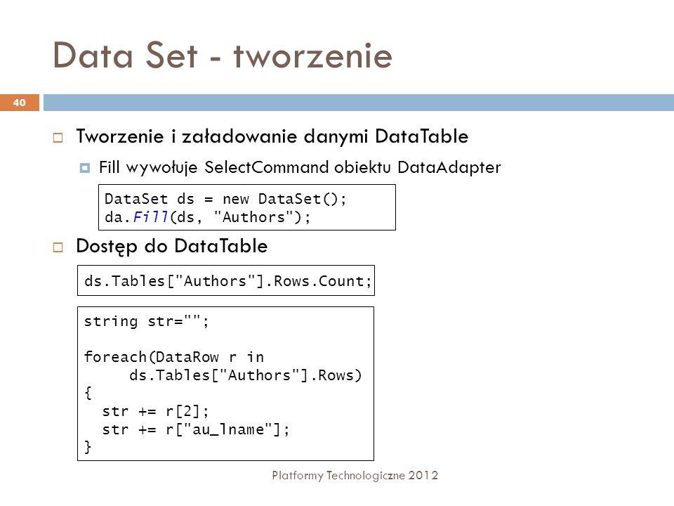 Data Set - tworzenie Tworzenie i załadowanie danymi DataTable