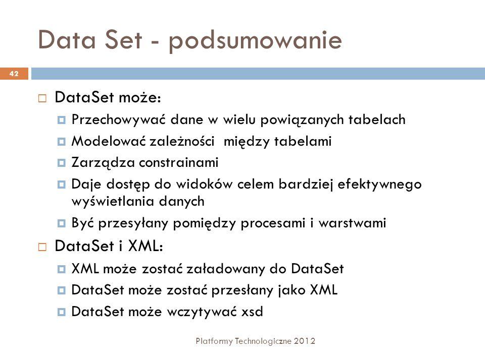 Data Set - podsumowanie