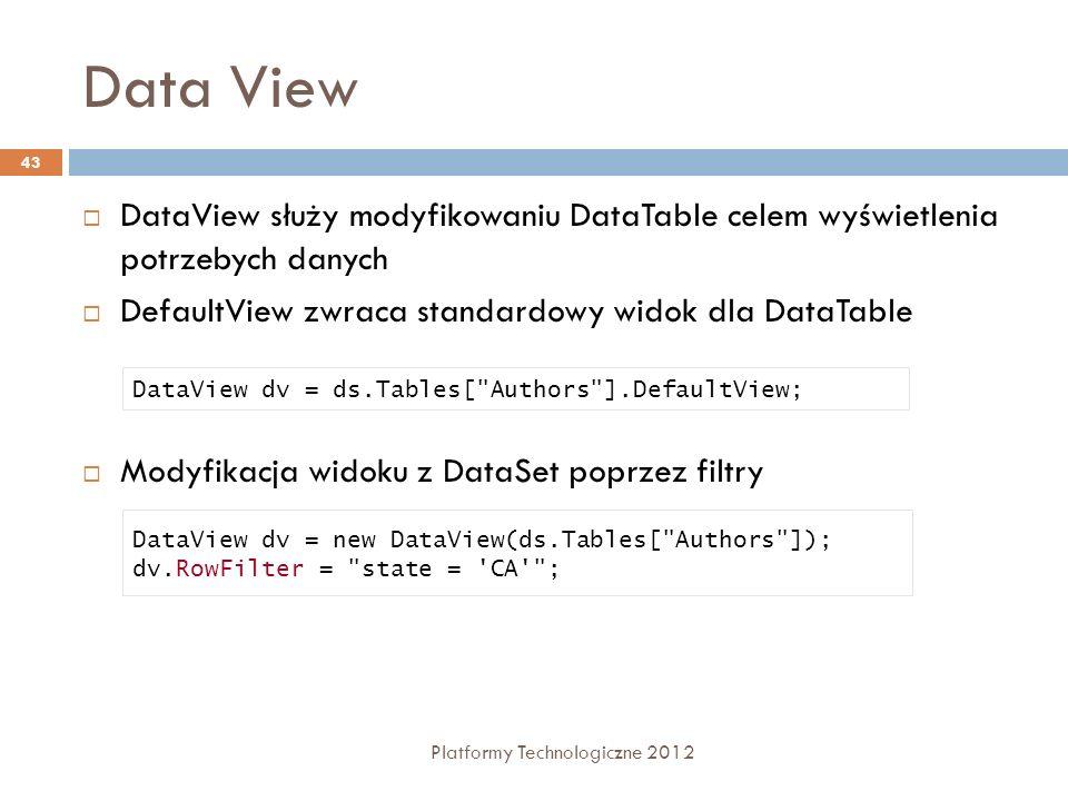 Data View DataView służy modyfikowaniu DataTable celem wyświetlenia potrzebych danych. DefaultView zwraca standardowy widok dla DataTable.