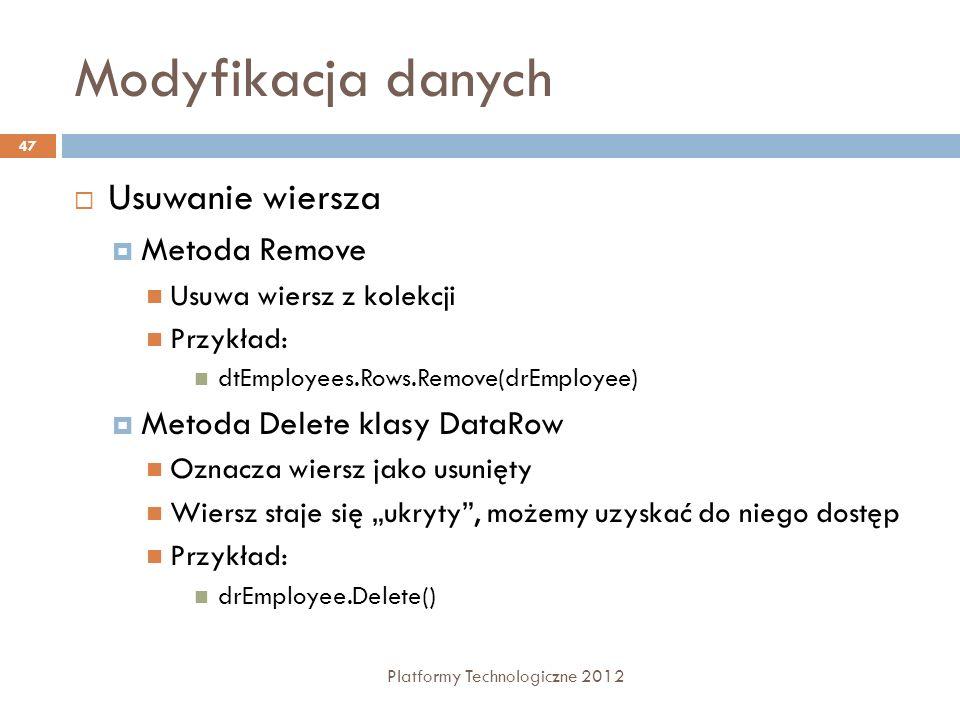 Modyfikacja danych Usuwanie wiersza Metoda Remove