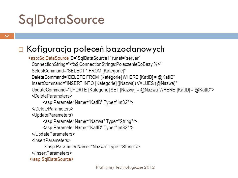 SqlDataSource Kofiguracja poleceń bazodanowych