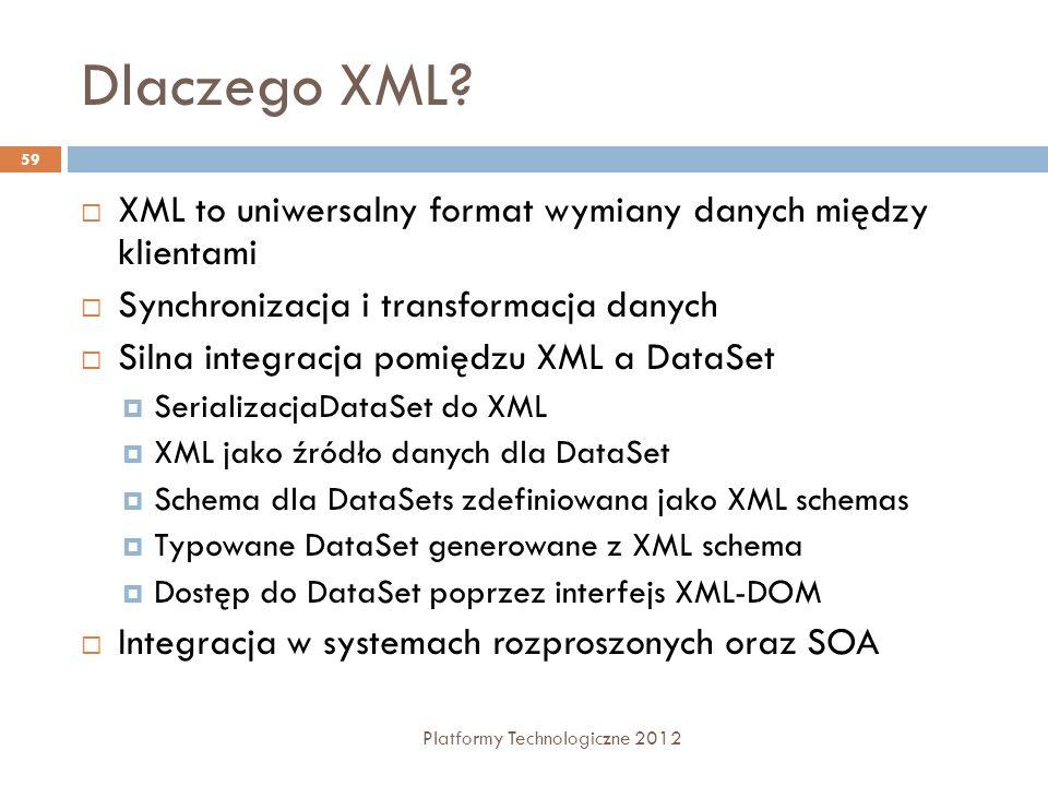 Dlaczego XML XML to uniwersalny format wymiany danych między klientami. Synchronizacja i transformacja danych.