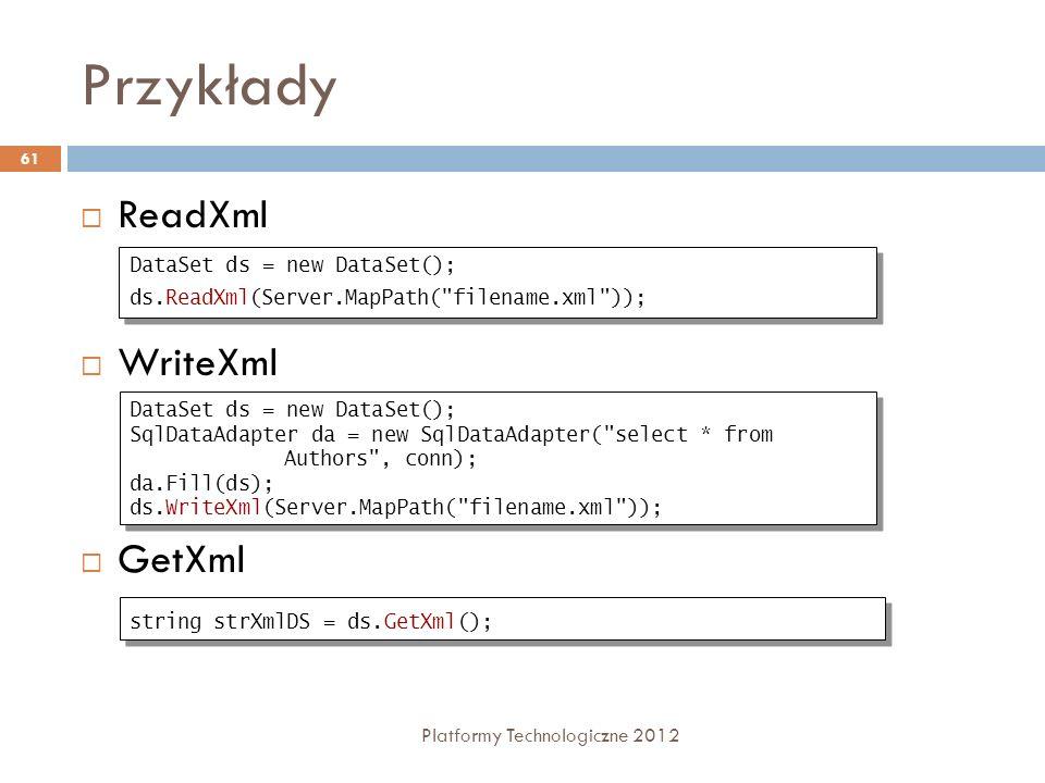 Przykłady ReadXml WriteXml GetXml DataSet ds = new DataSet();