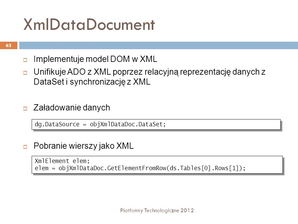 XmlDataDocument Implementuje model DOM w XML