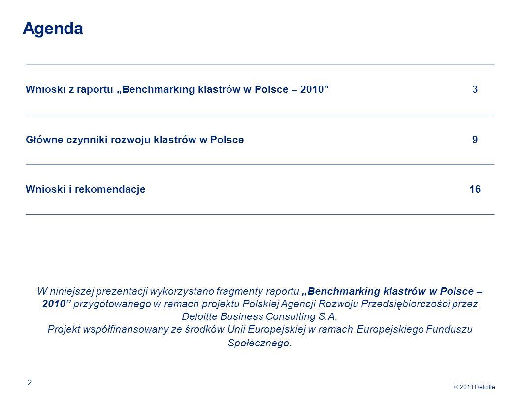 """Agenda Wnioski z raportu """"Benchmarking klastrów w Polsce – 2010 3"""