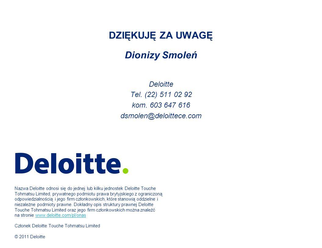 DZIĘKUJĘ ZA UWAGĘ Dionizy Smoleń Deloitte Tel. (22) 511 02 92