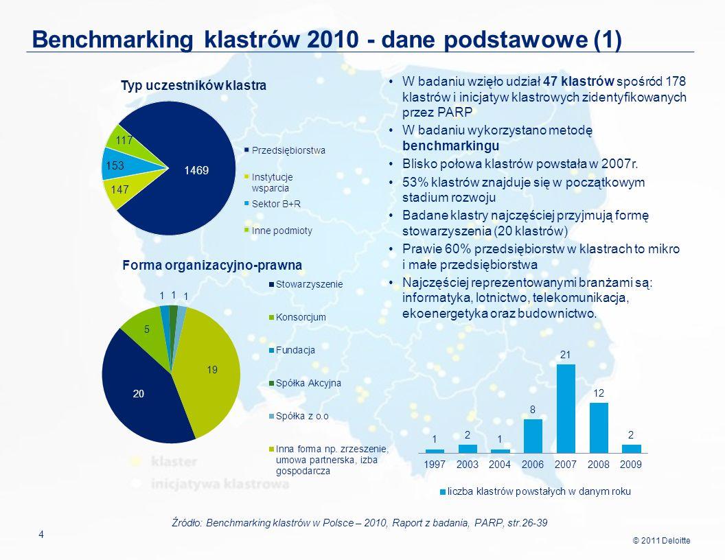 Benchmarking klastrów 2010 - dane podstawowe (1)