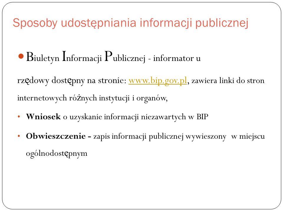 Sposoby udostępniania informacji publicznej