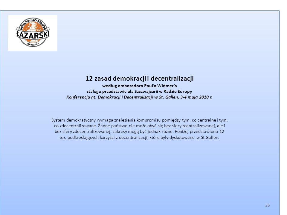 12 zasad demokracji i decentralizacji według ambasadora Paul'a Widmer'a stałego przedstawiciela Szczwajcarii w Radzie Europy Konferencja nt.