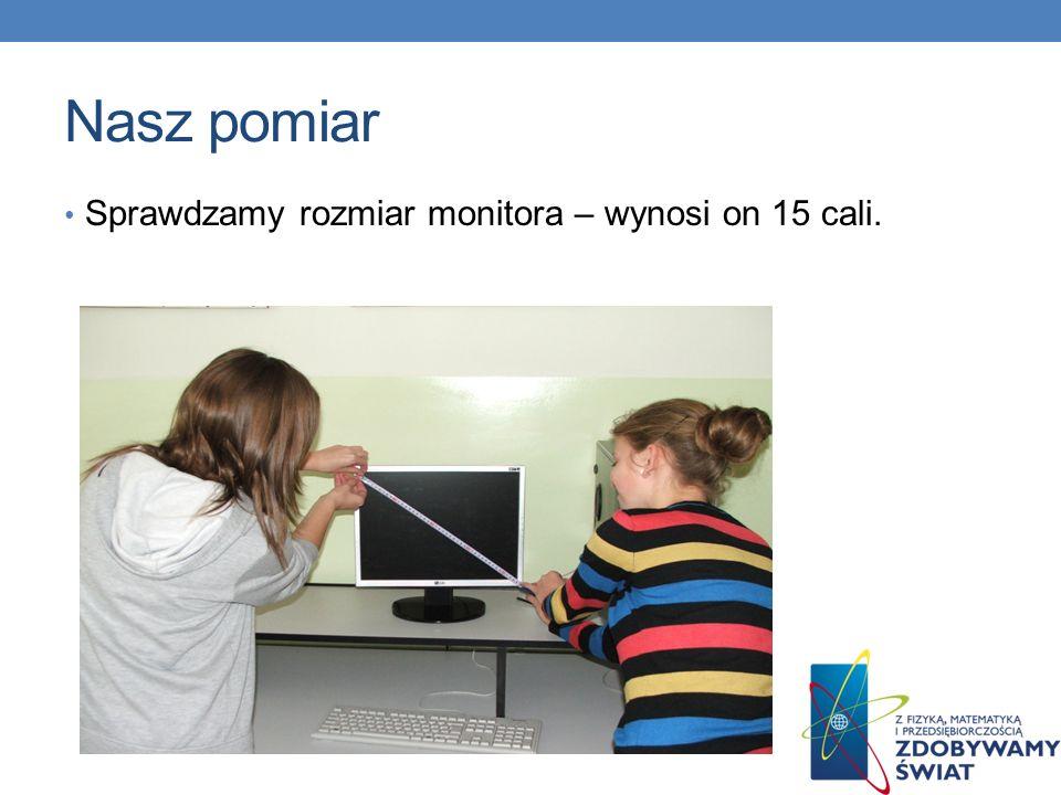 Nasz pomiar Sprawdzamy rozmiar monitora – wynosi on 15 cali.
