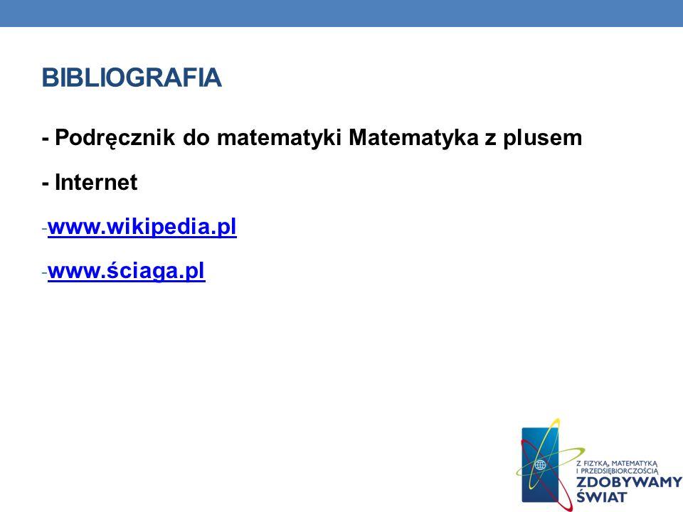 Bibliografia - Podręcznik do matematyki Matematyka z plusem - Internet