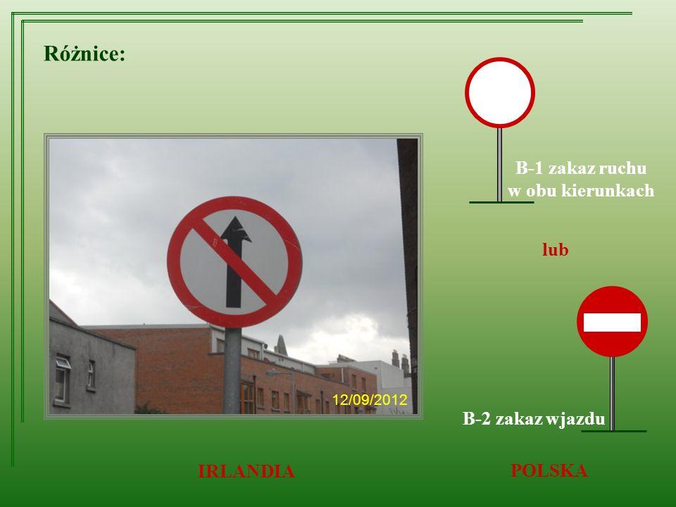 Różnice: B-1 zakaz ruchu w obu kierunkach lub B-2 zakaz wjazdu
