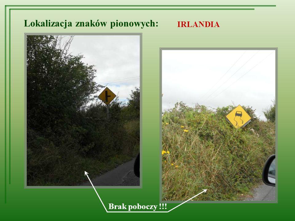 Lokalizacja znaków pionowych: