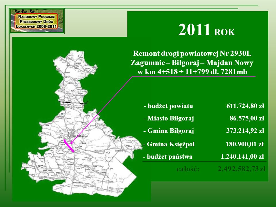 Remont drogi powiatowej Nr 2930L Zagumnie – Biłgoraj – Majdan Nowy