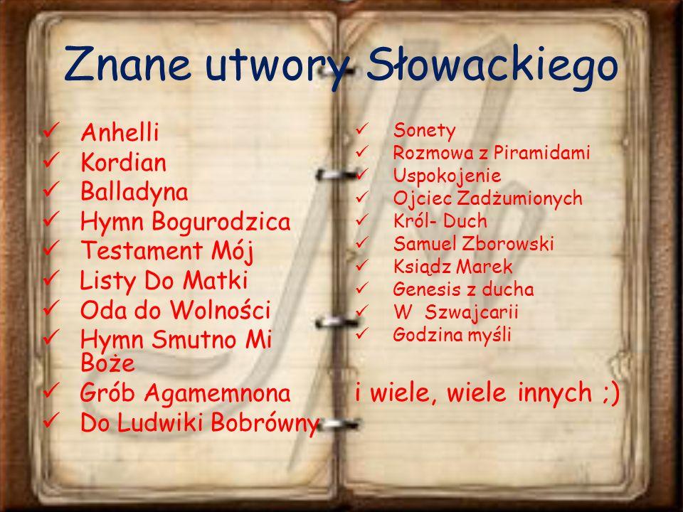 Znane utwory Słowackiego