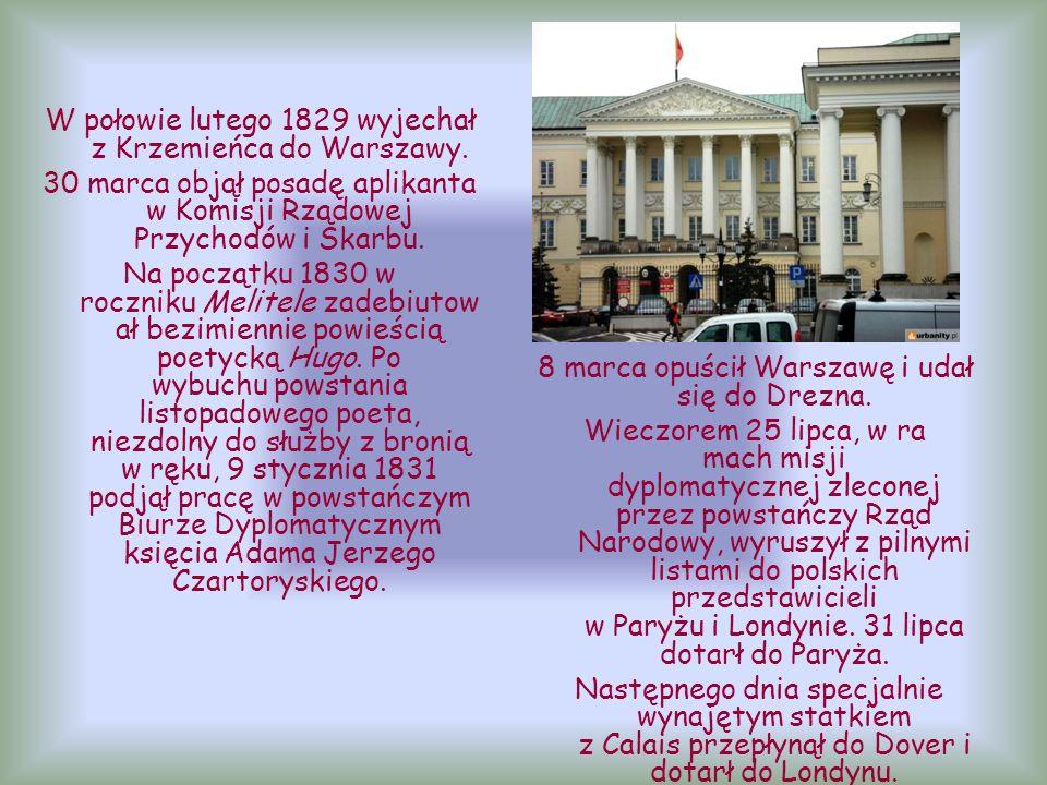8 marca opuścił Warszawę i udał się do Drezna.