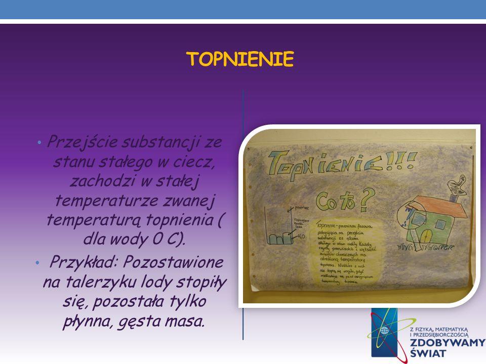 Topnienie Przejście substancji ze stanu stałego w ciecz, zachodzi w stałej temperaturze zwanej temperaturą topnienia ( dla wody 0 C).