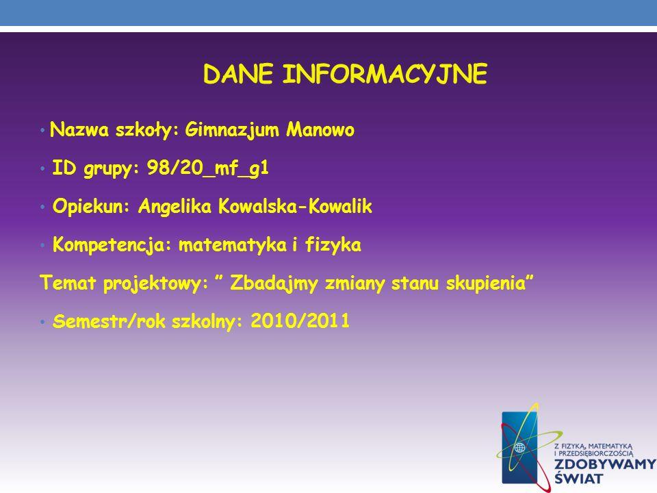 Dane INFORMACYJNE Nazwa szkoły: Gimnazjum Manowo ID grupy: 98/20_mf_g1