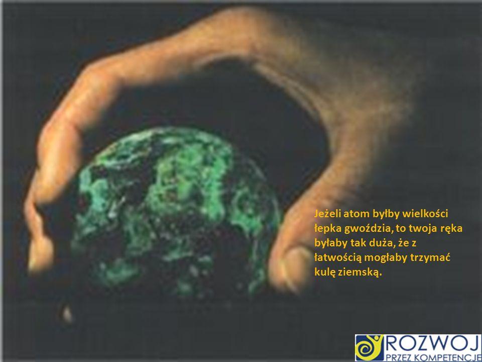 Rozmiar atomu Jeżeli atom byłby wielkości łepka gwoździa, to twoja ręka byłaby tak duża, że z łatwością mogłaby trzymać kulę ziemską.