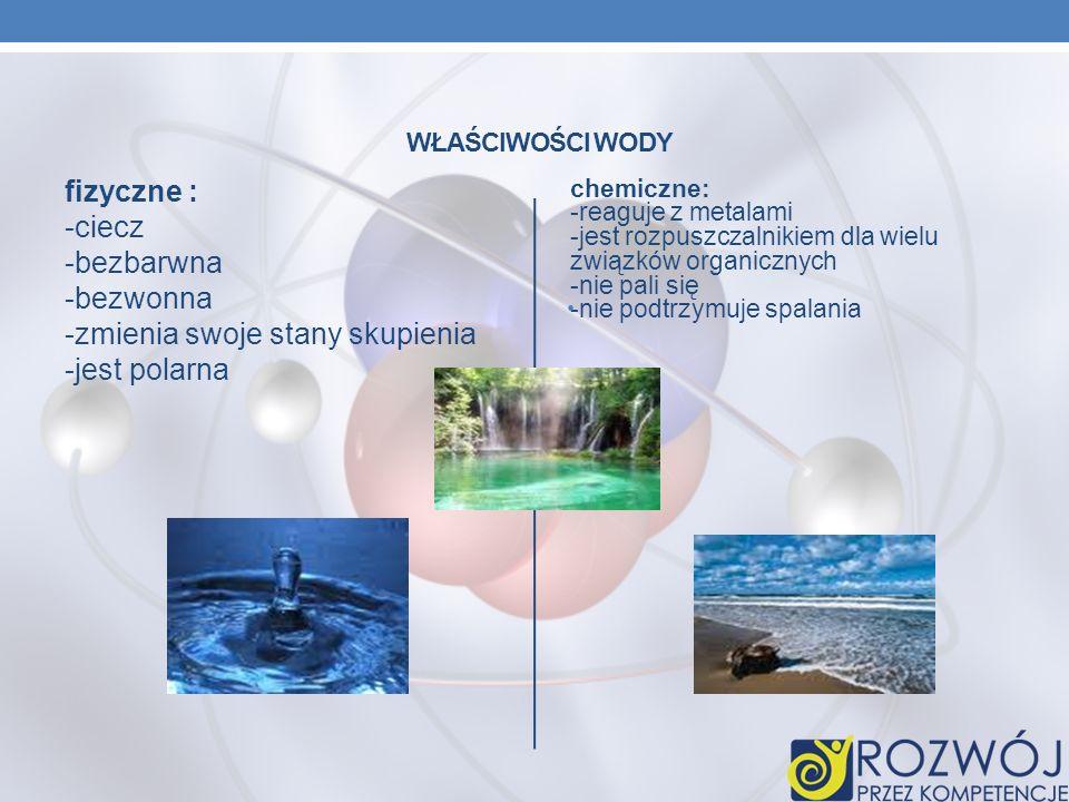 Właściwości wody fizyczne : -ciecz -bezbarwna -bezwonna -zmienia swoje stany skupienia -jest polarna.