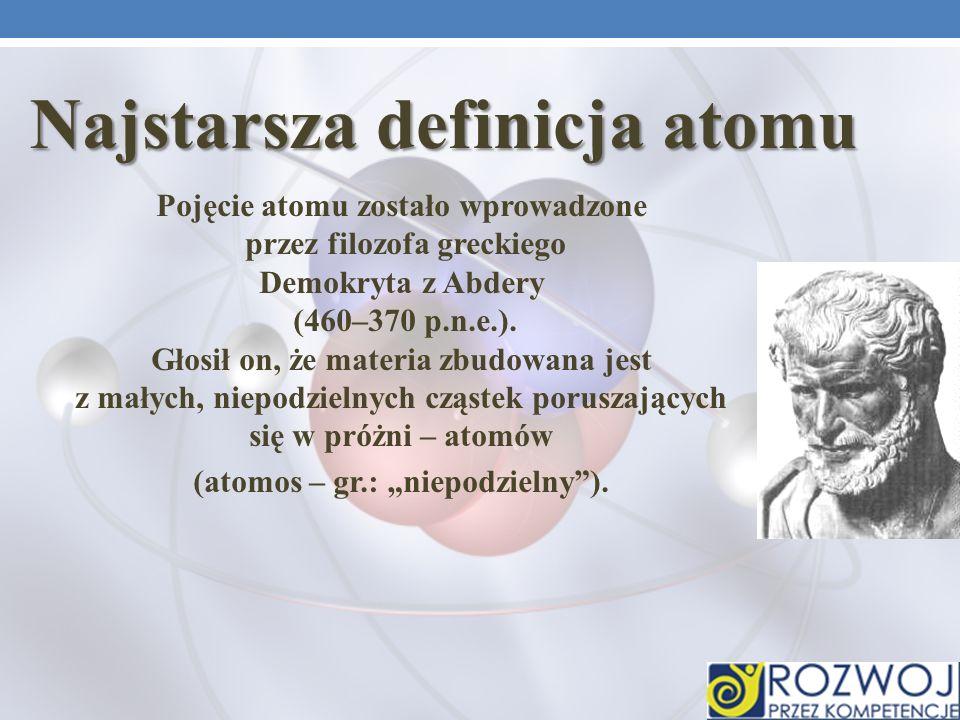 """Najstarsza definicja atomu (atomos – gr.: """"niepodzielny )."""