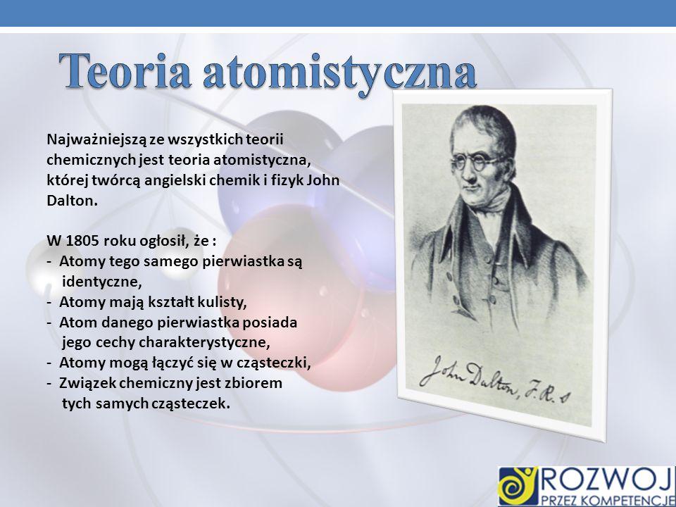 Teoria atomistyczna Najważniejszą ze wszystkich teorii chemicznych jest teoria atomistyczna, której twórcą angielski chemik i fizyk John Dalton.