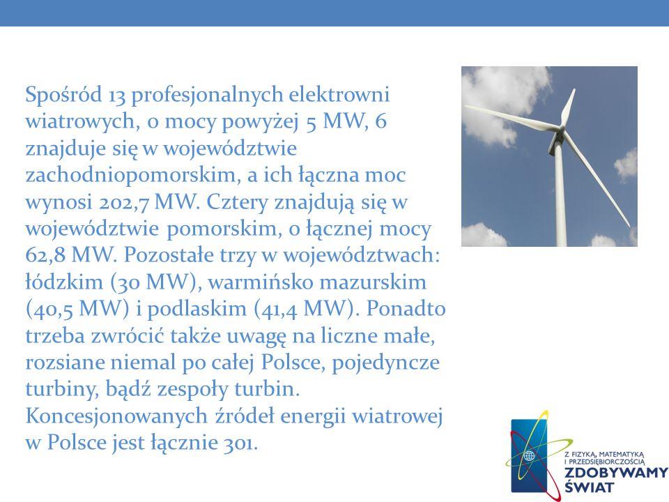 Spośród 13 profesjonalnych elektrowni wiatrowych, o mocy powyżej 5 MW, 6 znajduje się w województwie zachodniopomorskim, a ich łączna moc wynosi 202,7 MW.
