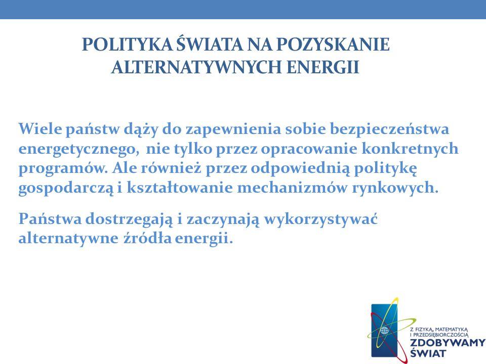 Polityka Świata na pozyskanie Alternatywnych energii