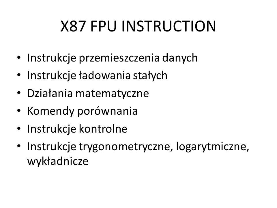 X87 FPU INSTRUCTION Instrukcje przemieszczenia danych