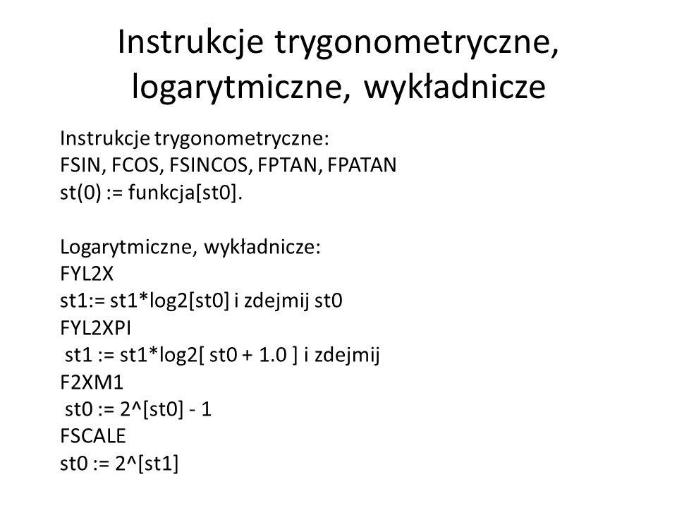 Instrukcje trygonometryczne, logarytmiczne, wykładnicze