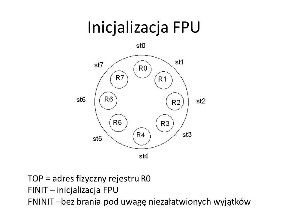Inicjalizacja FPU TOP = adres fizyczny rejestru R0