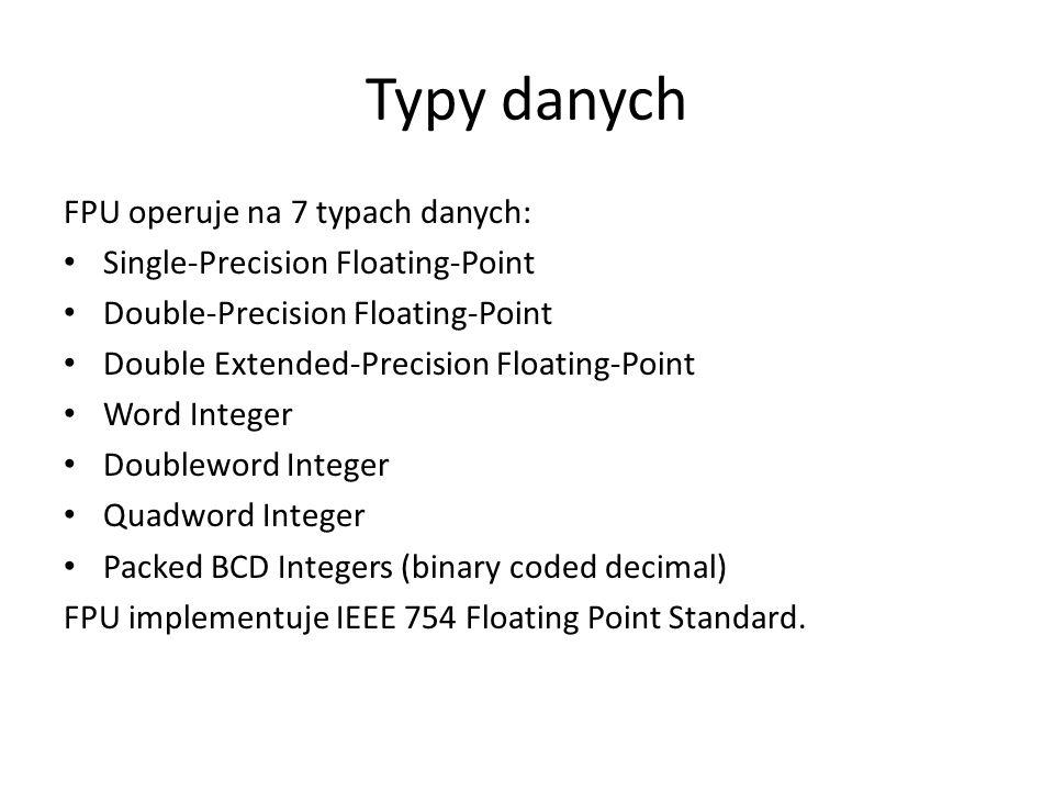 Typy danych FPU operuje na 7 typach danych: