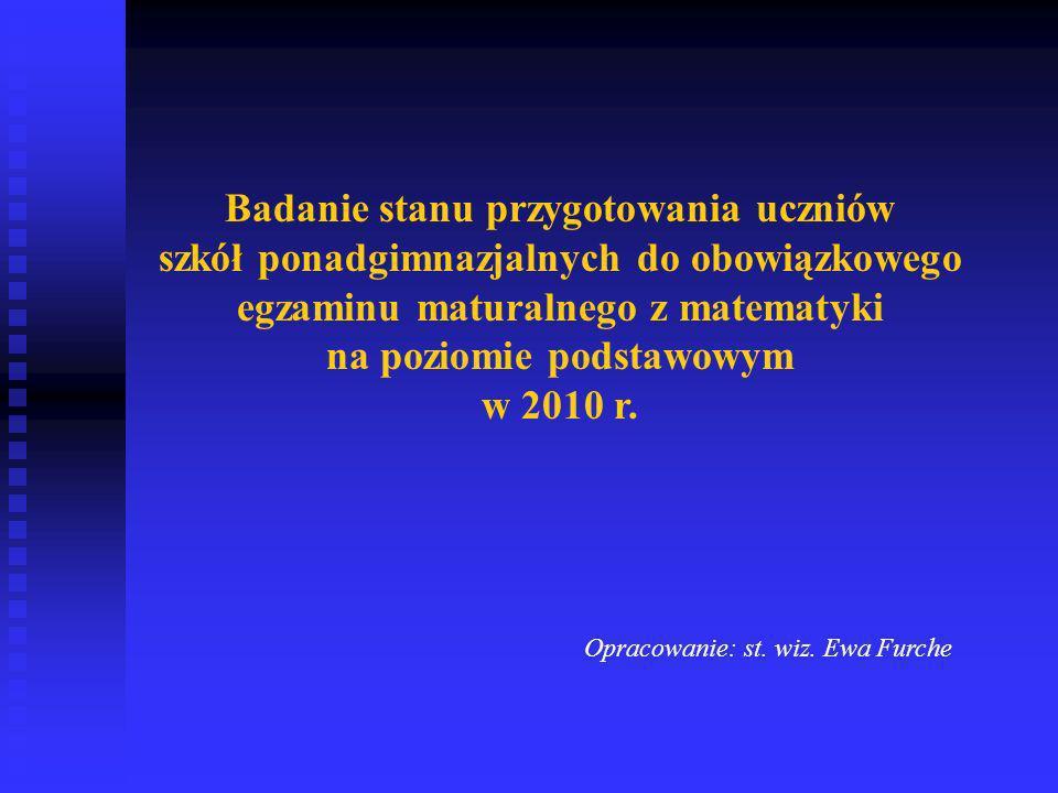 Badanie stanu przygotowania uczniów szkół ponadgimnazjalnych do obowiązkowego egzaminu maturalnego z matematyki na poziomie podstawowym w 2010 r.