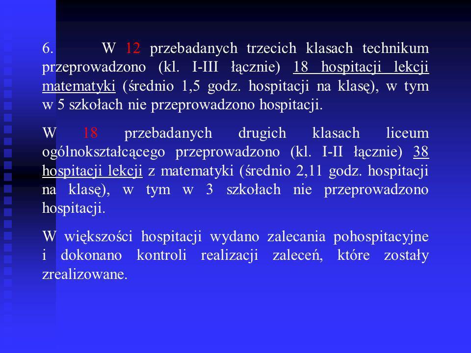 6. W 12 przebadanych trzecich klasach technikum przeprowadzono (kl