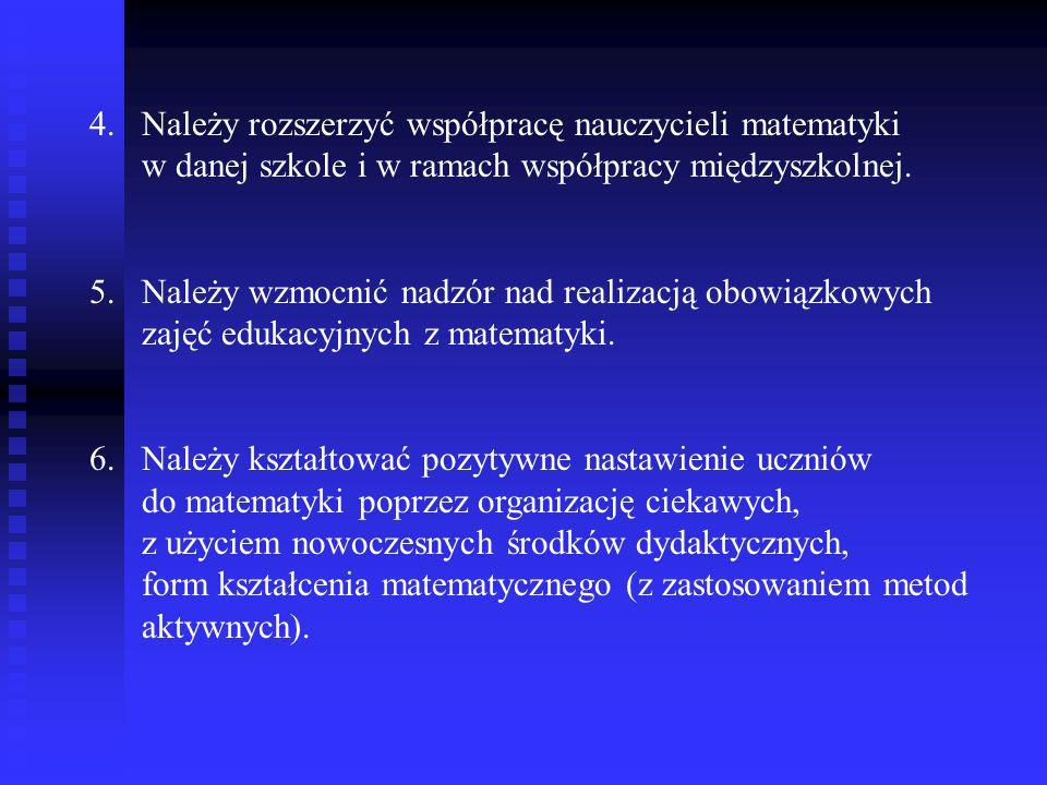 Należy rozszerzyć współpracę nauczycieli matematyki w danej szkole i w ramach współpracy międzyszkolnej.