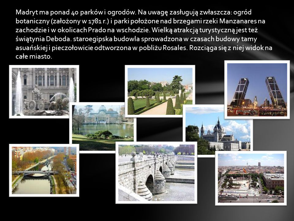 Madryt ma ponad 40 parków i ogrodów
