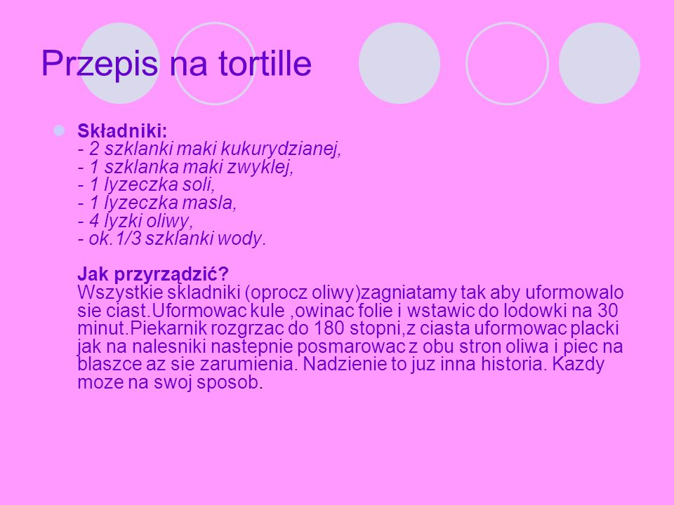 Przepis na tortille