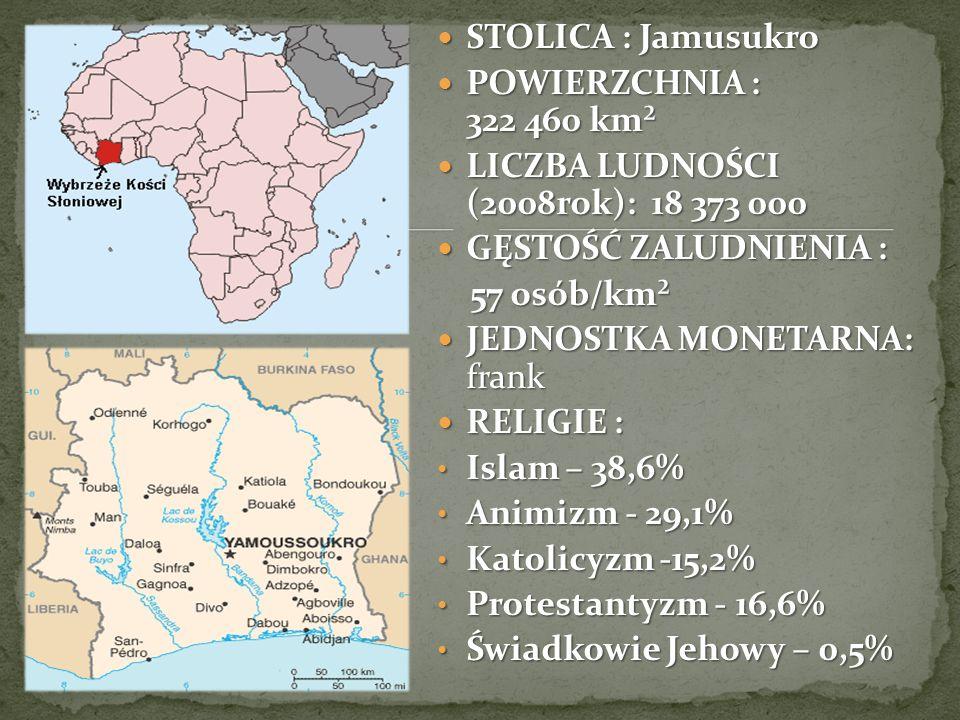 STOLICA : Jamusukro POWIERZCHNIA : 322 460 km². LICZBA LUDNOŚCI (2008rok): 18 373 000.