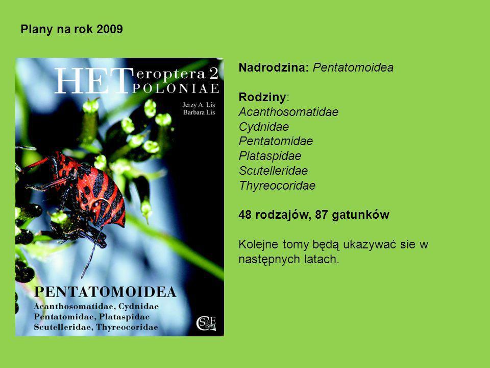 Plany na rok 2009 Nadrodzina: Pentatomoidea. Rodziny: Acanthosomatidae. Cydnidae. Pentatomidae.
