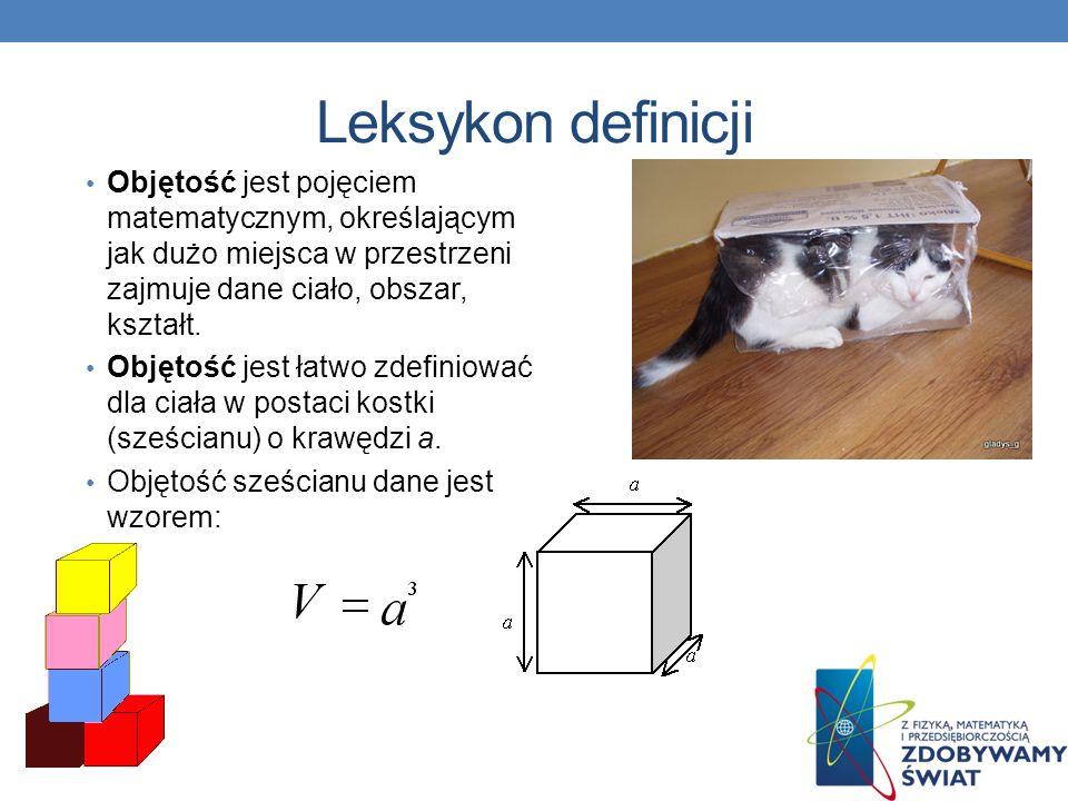Leksykon definicji Objętość jest pojęciem matematycznym, określającym jak dużo miejsca w przestrzeni zajmuje dane ciało, obszar, kształt.