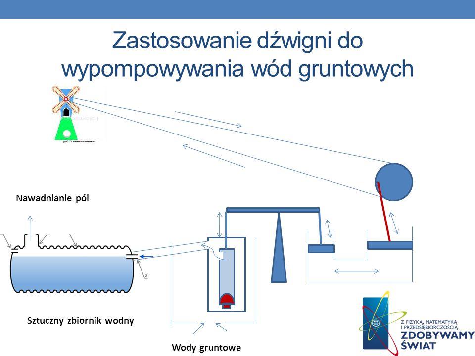 Zastosowanie dźwigni do wypompowywania wód gruntowych
