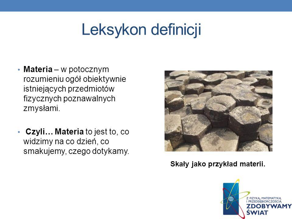 Leksykon definicji Materia – w potocznym rozumieniu ogół obiektywnie istniejących przedmiotów fizycznych poznawalnych zmysłami.